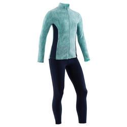 Trainingspak voor meisjes gym 100 groen met print / marineblauwe broek