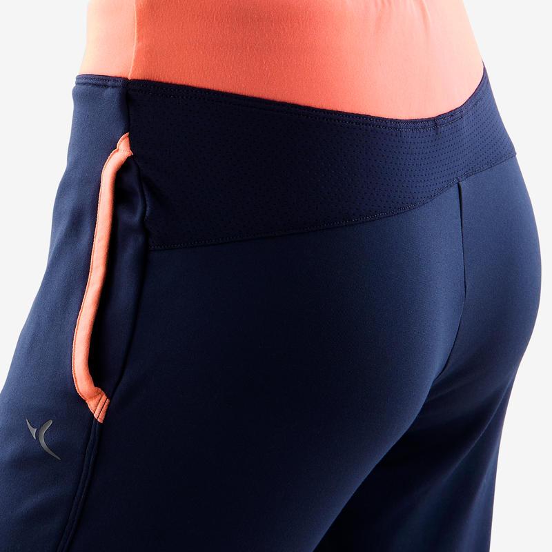 Pantalon chaud, synthé respirant, S500 fille GYM ENFANT marine/ceinture corail