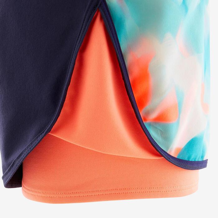 Shorts 2-in-1 Mädchen blau/koralle bedruckt
