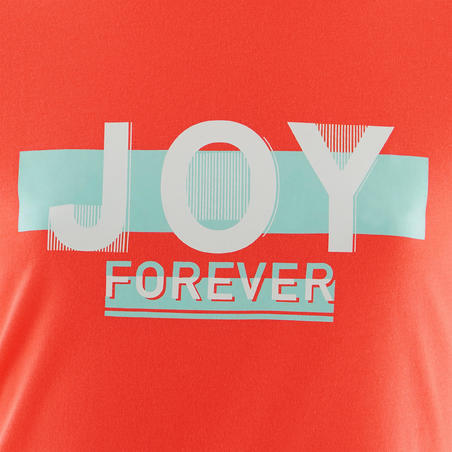 Girls' Gym Short-Sleeved T-Shirt 100 - Pink/Coral Print