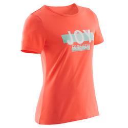 T-shirt met korte mouwen voor gym meisjes 100 koraalrood met print