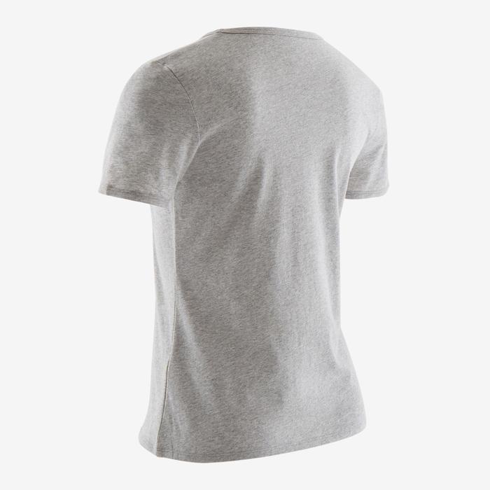 T-Shirt manches courtes 100 fille GYM ENFANT gris chiné/imprimé rose
