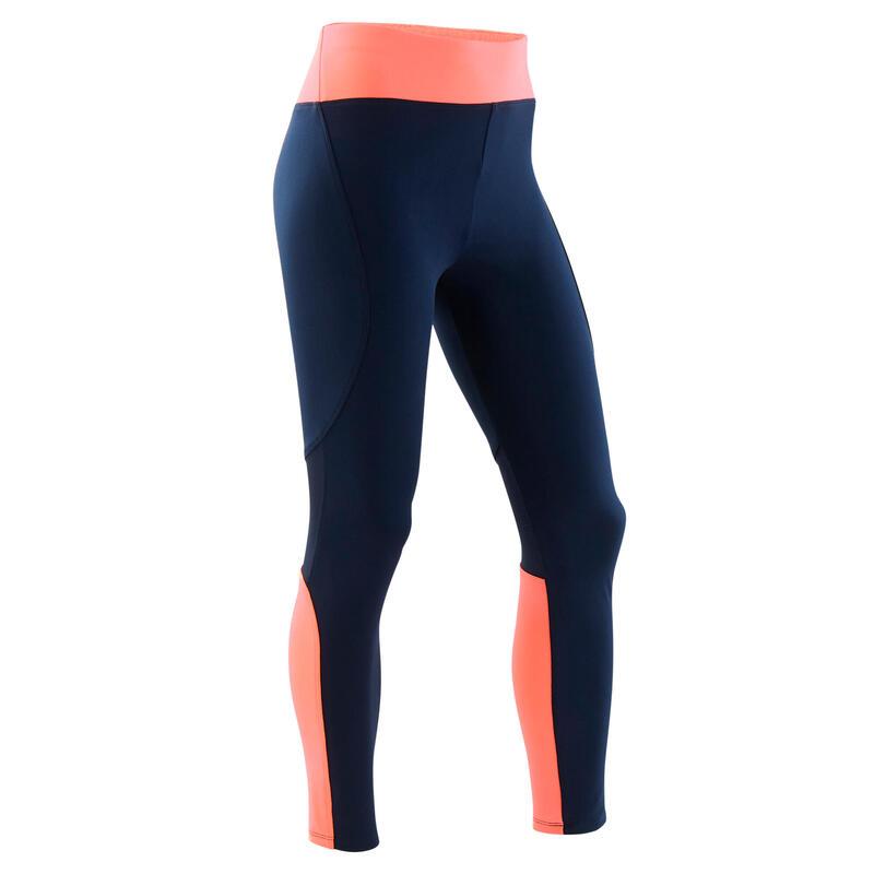 Legging fille synthétique respirant - S500 bleu marine et corail