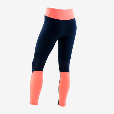 Girls' Breathable Synthetic Gym Leggings S500 - Navy Blue/Coral