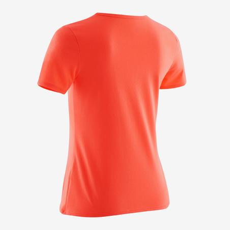 חולצת טי קצרה להתעמלות דגם 100 לבנות - ורוד/ הדפס קורל