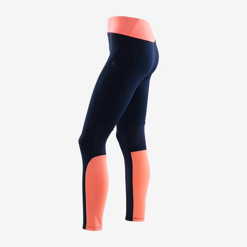 Legging synthétique respirant S500 fille GYM ENFANT bleu marine/corail