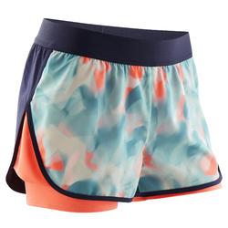 Shorts kurz doppelt atmungsaktiv W500 Gym Kinder blau/koralle Print
