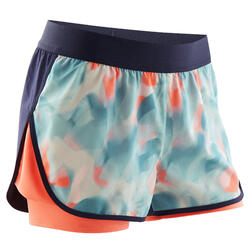 Pantaloncini 2 in 1 bambina ginnastica W500 azzurro-corallo con stampa