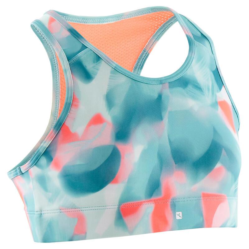 Girls' Breathable Sports Bra - Green/Print