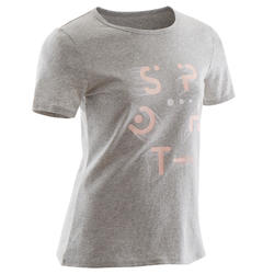 T-shirt met korte mouwen voor gym meisjes 100 gemêleerd grijs met roze print