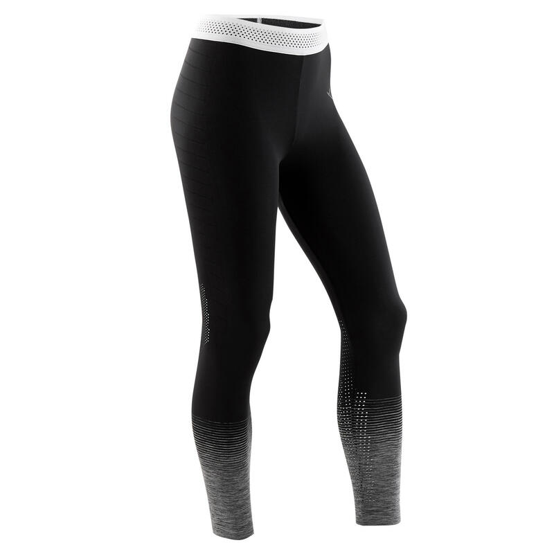 Girls' Seamless Breathable Gym Leggings S580 - Black/Touch of White Waistband