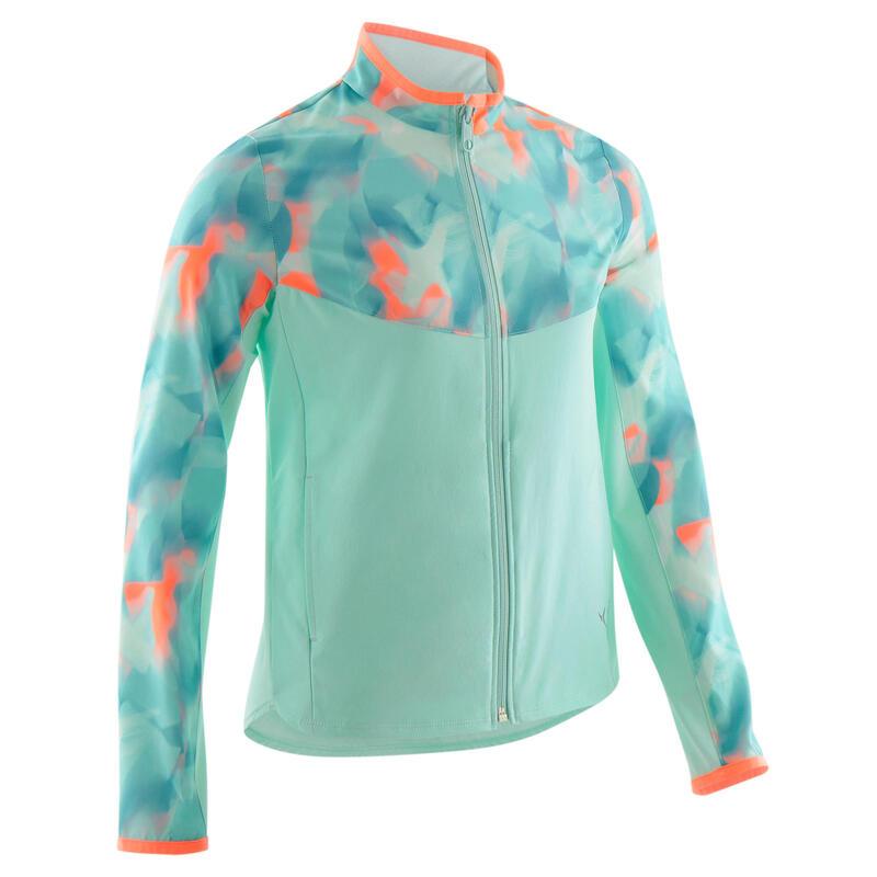Girls' Light Breathable Gym Jacket W500 - Green Print