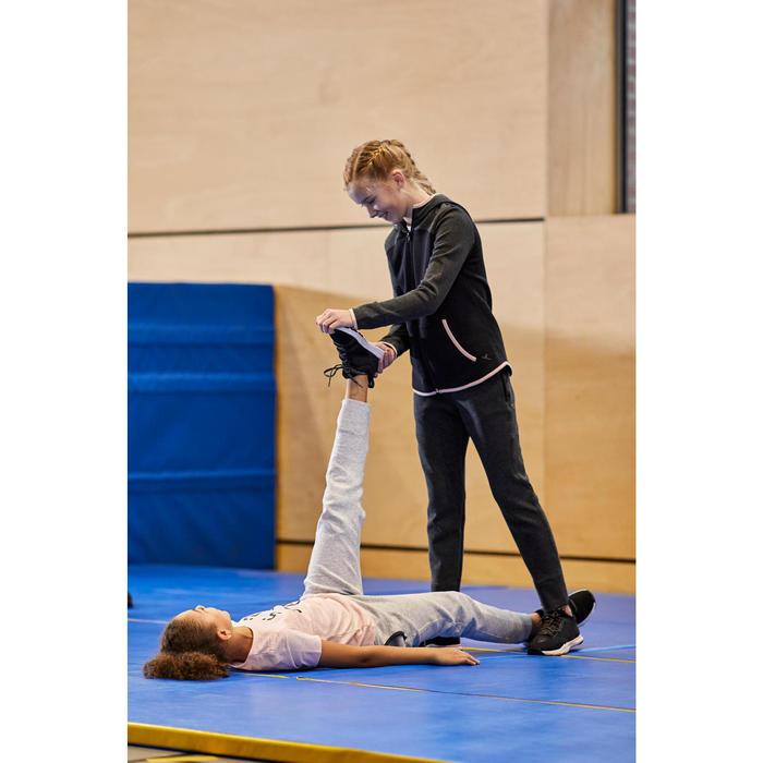 Warme ademende sportbroek gym meisjes 500 slim fit katoen gemêleerd donkergrijs