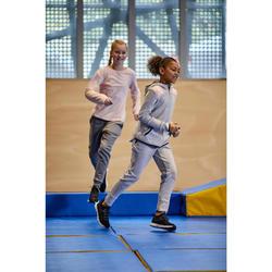 Warme ademende sportbroek gym meisjes 500 slim fit katoen gemêleerd lichtgrijs