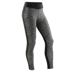 Warme en ademende legging voor gym meisjes S500 synthetisch zwart print voorop