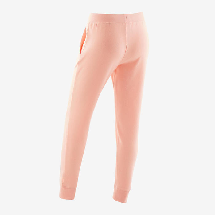 Pantalon de jogging chaud molleton 100 fille GYM ENFANT rose clair uni