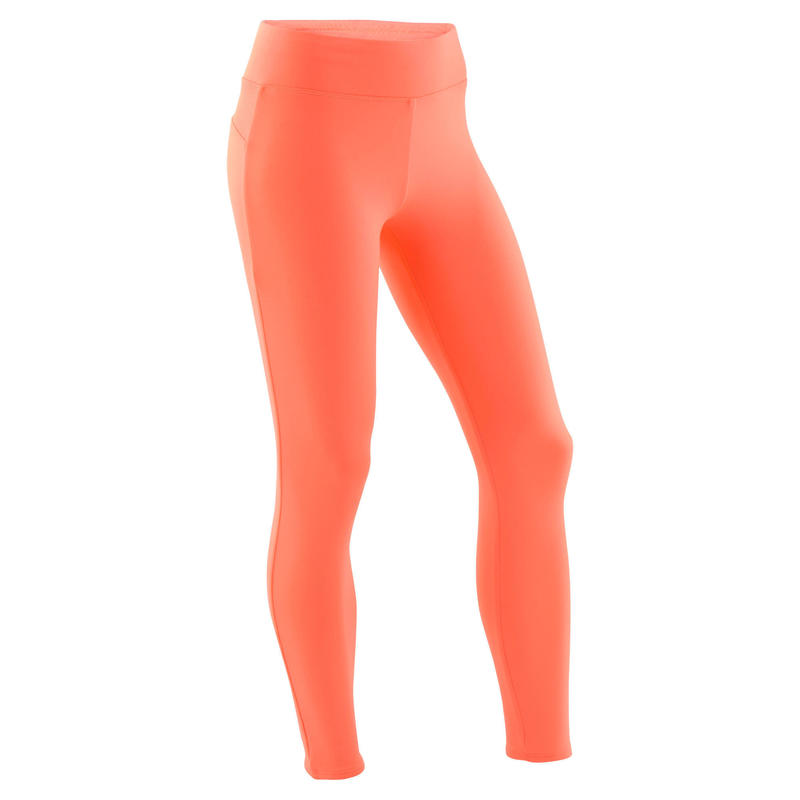 Girls' Warm Breathable Synthetic Gym Leggings S500 - Plain Coral