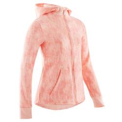Veste capuche molleton chaude 100 fille GYM ENFANT rose full imprimé