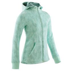 Warme molton gymhoodie met rits voor meisjes 100 groen met all-over-print
