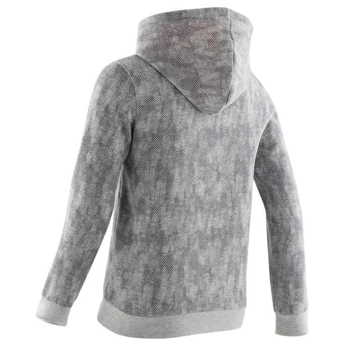Kapuzenpullover 100 Gym Baumwolle warm Kinder grau All-over-Print