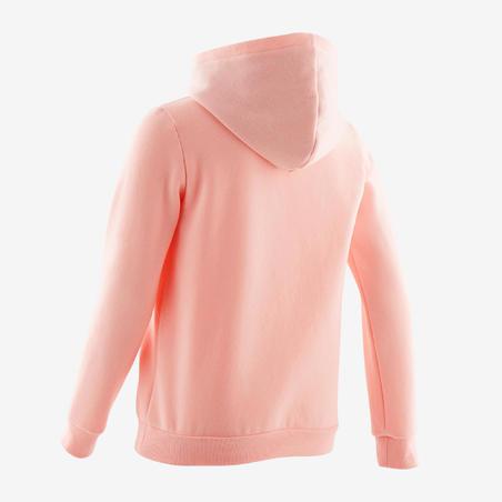Sudadera capucha felpa cálida 100 niña GIMNASIA INFANTIL rosa claro liso
