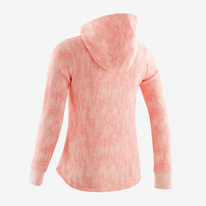 Warme molton gymhoodie met rits voor meisjes 100 roze met all-over-print