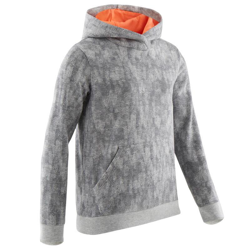 Warme molton gymhoodie voor meisjes 100 grijs met all-over-print