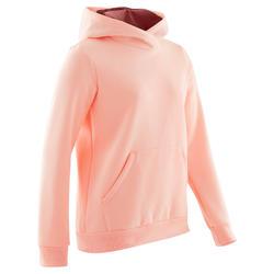 Camisola Quente com Capuz Moletão GINÁSTICA CRIANÇA Menina 100 Rosa Claro Uni