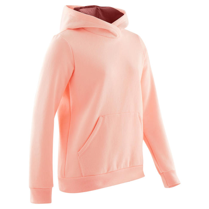 Sweat capuche molleton chaud 100 fille GYM ENFANT rose clair uni