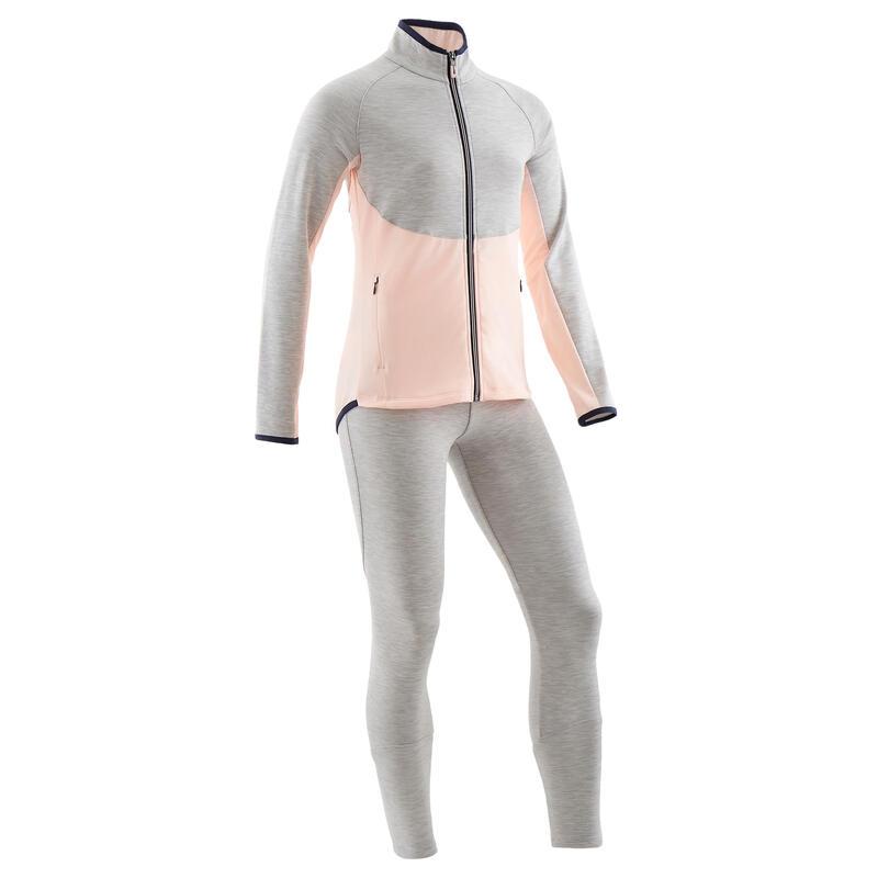 Warm ademend trainingspak voor gym meisjes S500 synthetisch gemêleerd grijs/roze