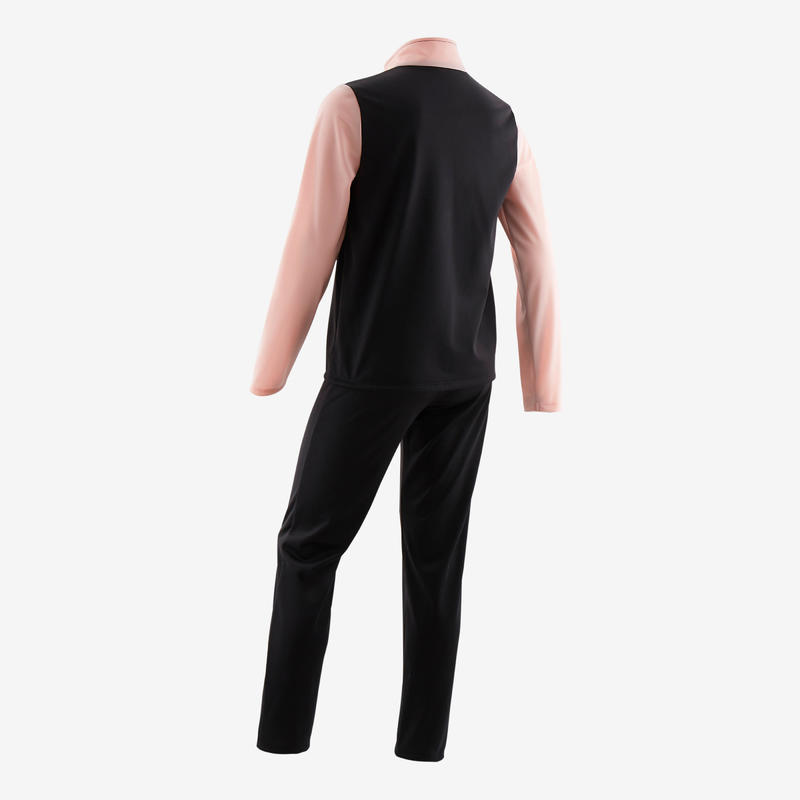 Girls' Gym Warm Breathable Synthetic Tracksuit Gym'y S500 - Black/Pink