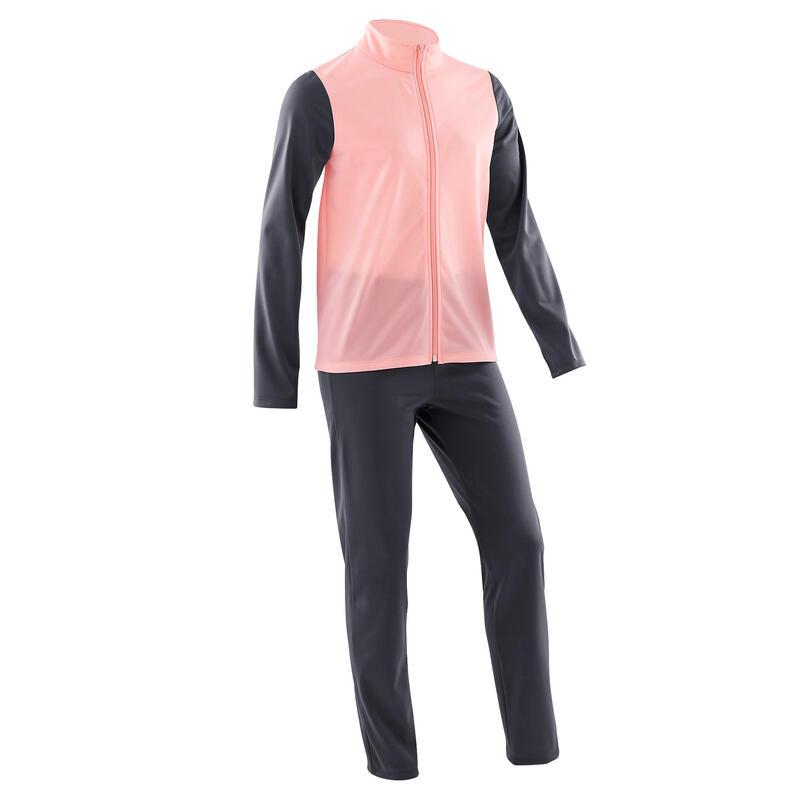 Warm en ademend trainingspak GYM'Y voor gym meisjes S500 synthetisch roze/grijs