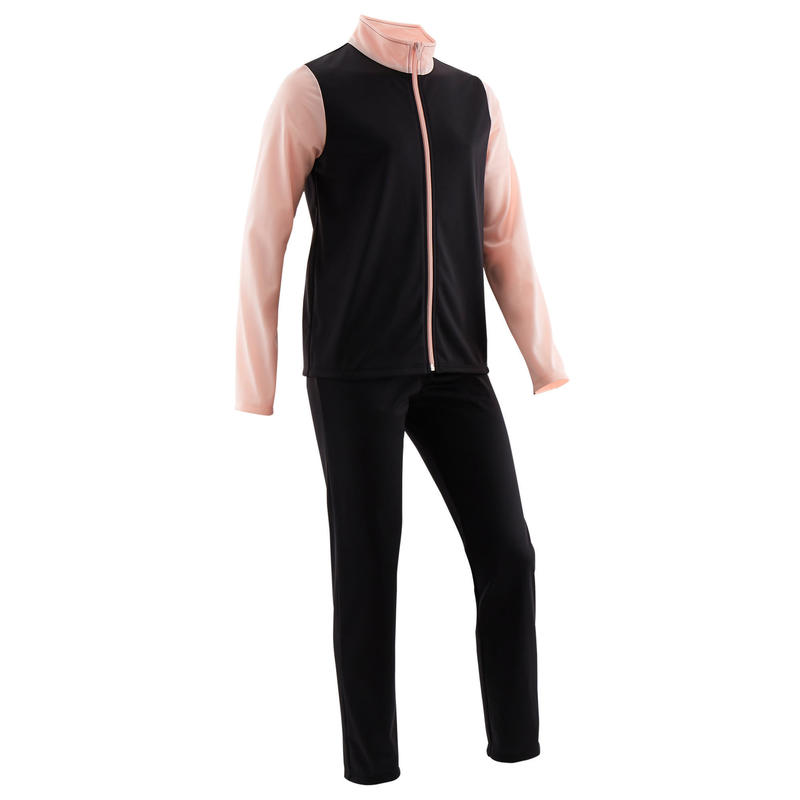 Warm en ademend trainingspak GYM'Y voor gym meisjes S500 synthetisch zwart/roze