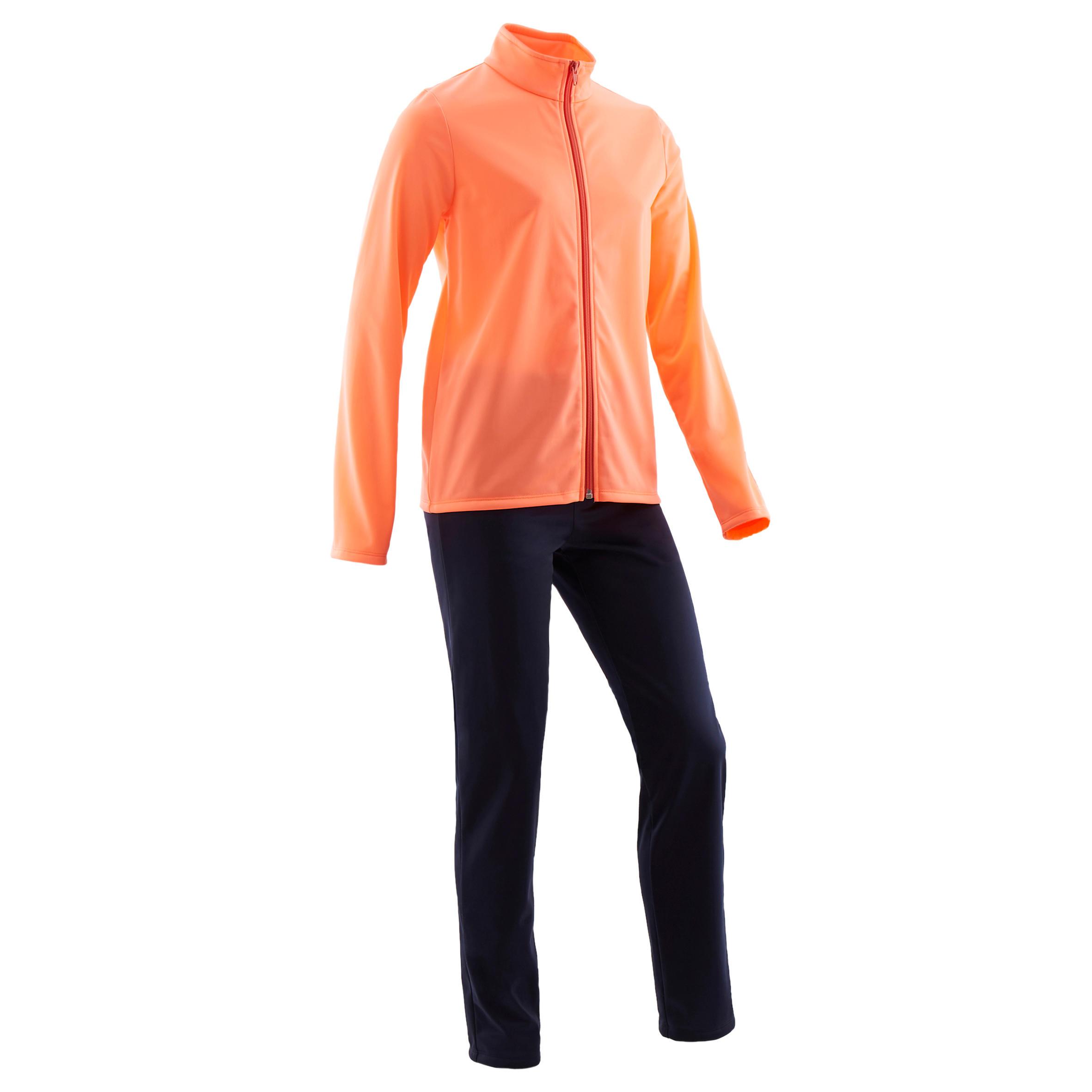 Trainingsanzug Gym'Y S500 warm Synthetik atmungsaktiv Kinder koralle/marineblau