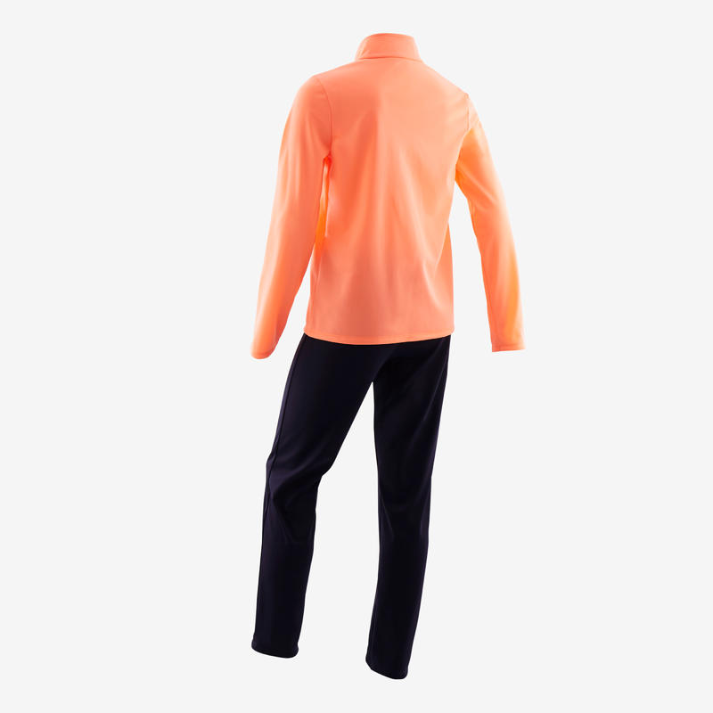 Girls' Gym Warm Breathable Synthetic Tracksuit Gym'y S500 - Coral/Navy