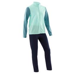 Warm en ademend trainingspak GYM'Y voor gym meisjes S500 synthetisch groen/blauw