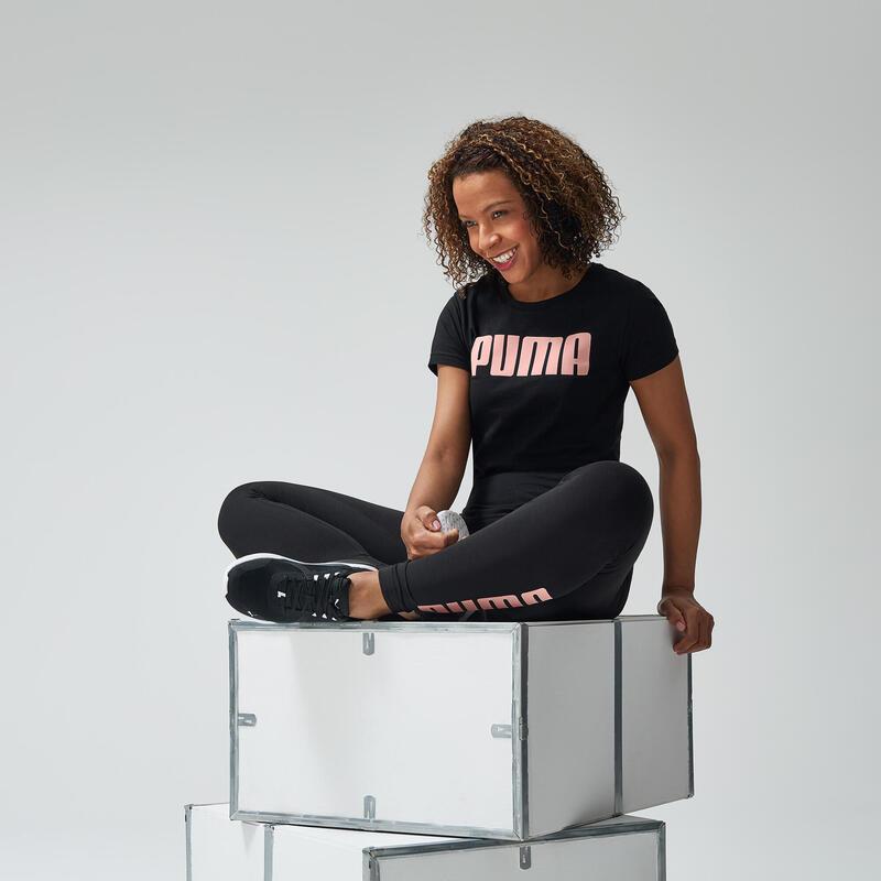 T-shirt voor dames zwart met wit logo
