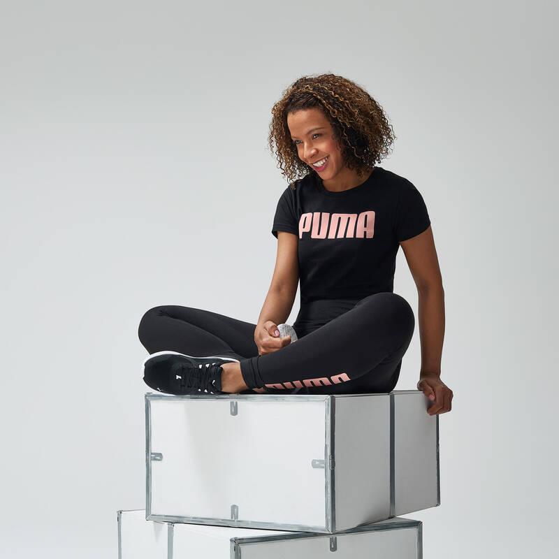 DÁMSKÁ TRIČKA, LEGÍNY, KRAŤASY Fitness - SPORTOVNÍ TRIČKO PUMA ČERNÉ PUMA - Fitness oblečení a boty