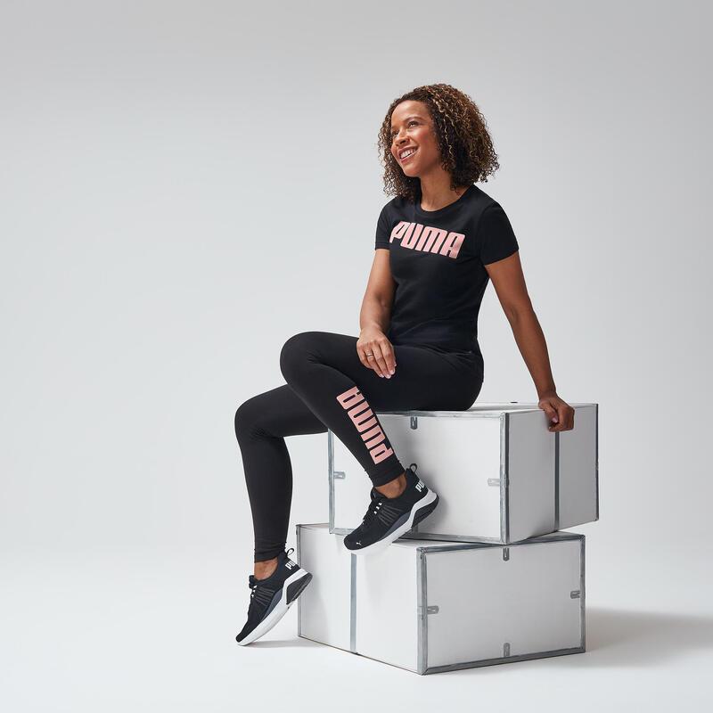 Legging Puma Femme Noir avec Logo Rose