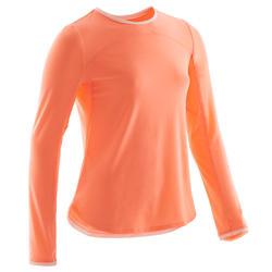 T-shirt manches longues coton respirant 500 fille GYM ENFANT corail