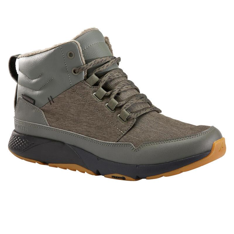 Sneakers voor sportief wandelen Actiwalk Warm Waterproof kaki