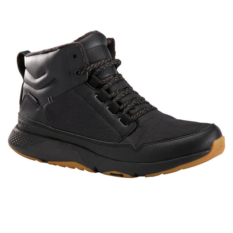 Sneakers voor sportief wandelen Actiwalk Warm Waterproof zwart