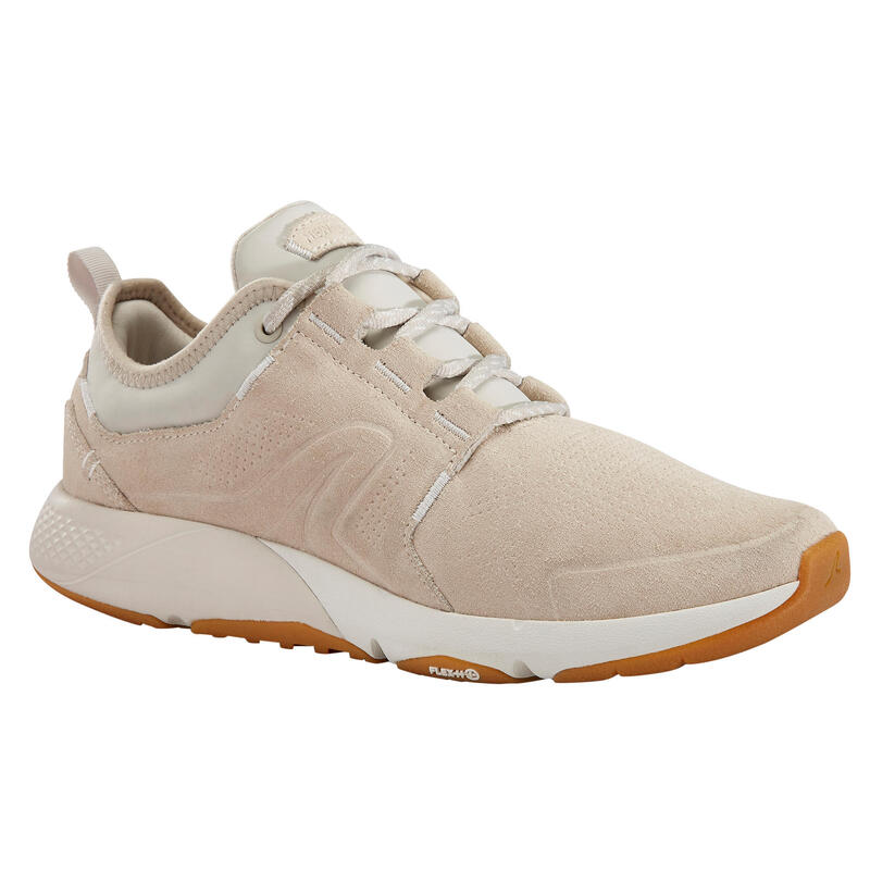 Chaussures cuir marche urbaine femme Actiwalk Confort Leather beige