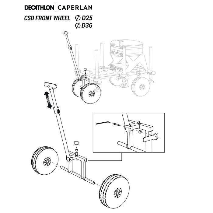 Trolley voor de voorkant van visstation CBS D25 en D36