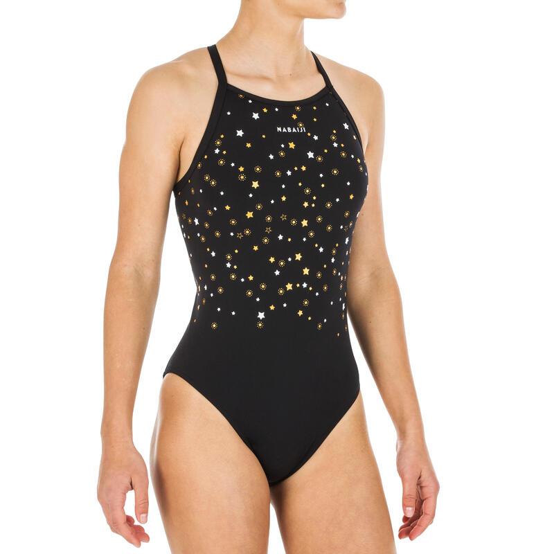 Meisjesbadpak voor zwemmen Jade Star zwart