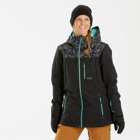 Manteau de planche à neige et de ski femme SNB JKT 500 camo noir