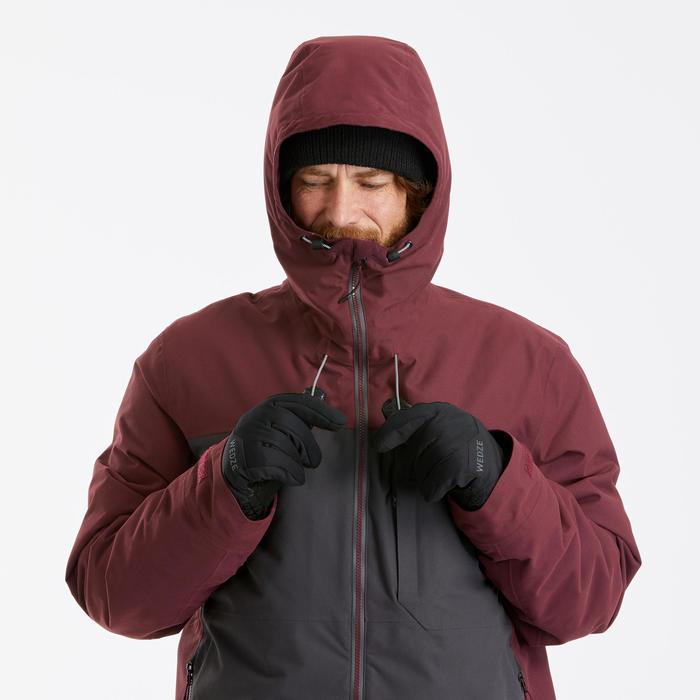 Men's Snowboard and Ski 3-in-1 Jacket SNB JKT 500 PROTEC - maroon