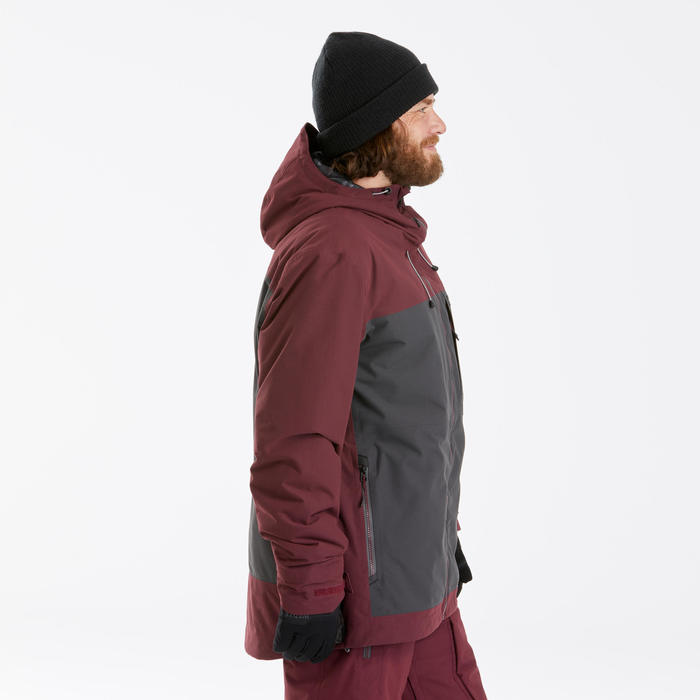 Men's Snowboard and Ski 3-in-1 Jacket SNB JKT 500 PROTEC - maroon