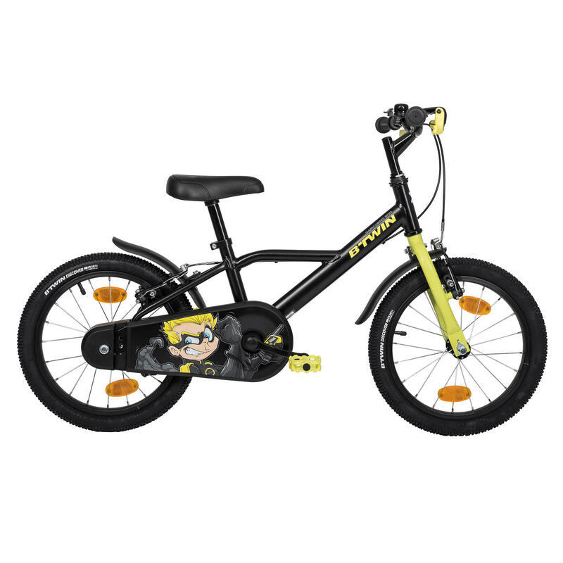 Kids 500 Heroboy 16-Inch Bike 4-6 Years Black Yellow