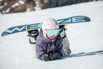 young snowboarding girl